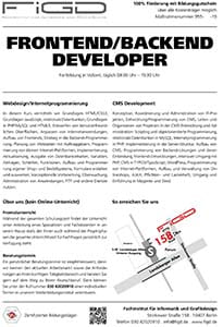 FiGD frontend backend developer info klein - Frontend Developer – Backend Developer - 100 % Förderung möglich!